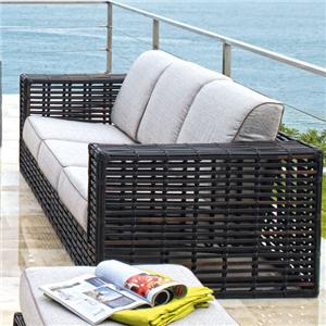 Contemporary Synthetic Woven Wicker with Aluminum Outdoor Sofa with Comfy Three-Cushion Seat & Back Design