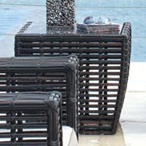 Outdoor Woven Synthetic Wicker with Aluminum Glass Top Side Table with Rounded Tapered Shaping