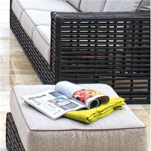 Outdoor Two-Tier Ottoman with Woven Synthetic Wicker & Aluminum Base & Plush Cushion Top