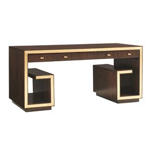 Brentwood Writing Desk with Wire Management and Gold Tipping