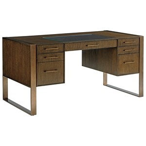 Contemporary 7-Drawer Structure Desk with Glass Insert