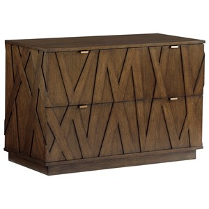 Contemporary File Chest with Asymmetrical Wooden Overlays