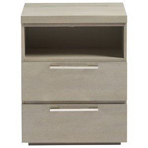 Two Drawer Nightstand with Built-in Night Light