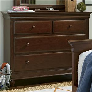 4-Drawer Single Dresser with Hidden Storage & Media Drawer