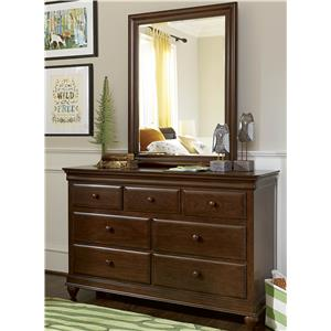 7-Drawer Dresser & Vertical Beveled Edge Mirror