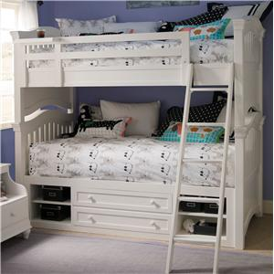 Twin Over Twin Bunk Bed & Storage Unit with Side Rails