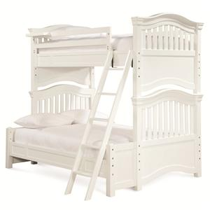 Twin Over Full Bunk Bed with Guard Rail & Clock Shelf