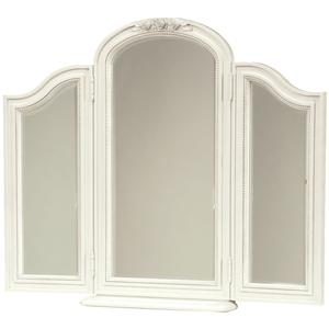 Tri-View Beveled Dressing Chest Mirror with Scooped Out Coin Tray