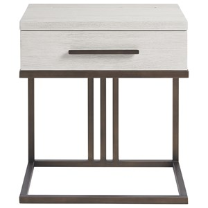 Contemporary 1 Drawer Nighstand with Built-In Touch Night Light and AC / USB Charging Ports