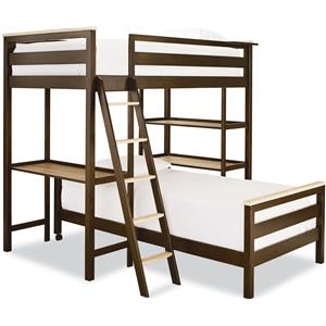 Twin Metal Loft Bunk Bed with 3 Shelves