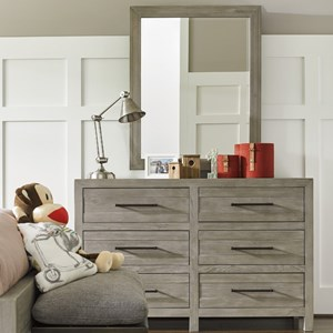 Dresser and Mirror with Removable Felt-Lined Tray