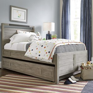 Twin Panel Bed with Trundle and Bronze Accent on Headboard