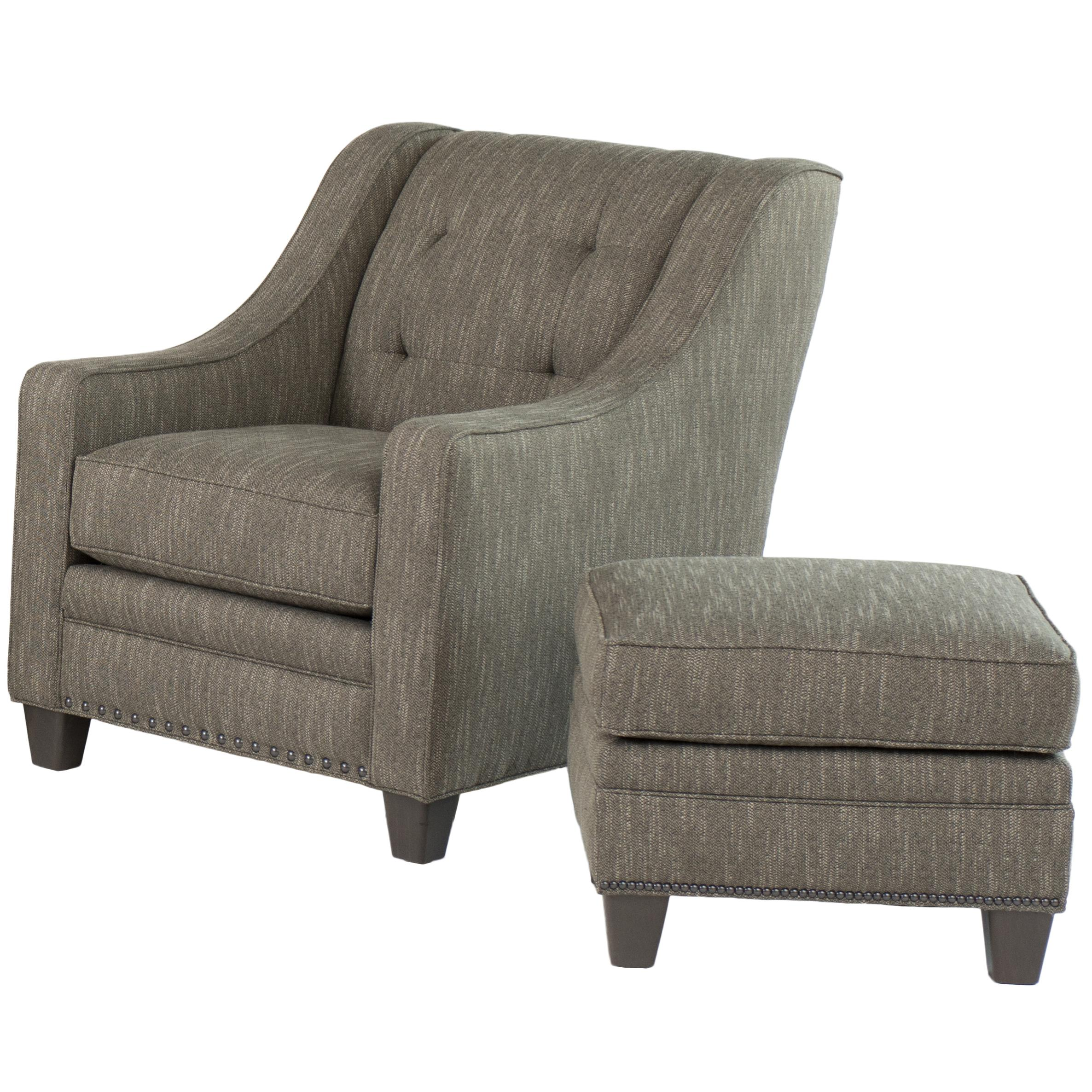 203  Transitional Chair with Ottoman by Smith Brothers at Mueller Furniture