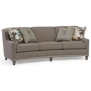 Slightly Curved Sofa with Sloping Track Arms and Nail Head Trim