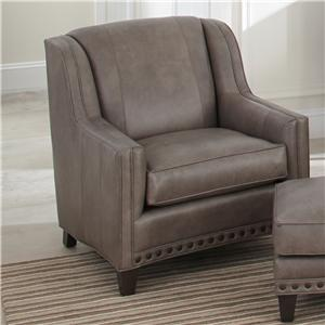 Upholstered Chair with Sloping Track Arms and Nail Head Trim