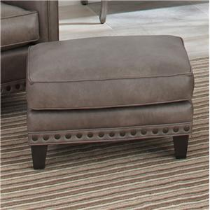 Upholstered Ottoman with Nail Head Trim