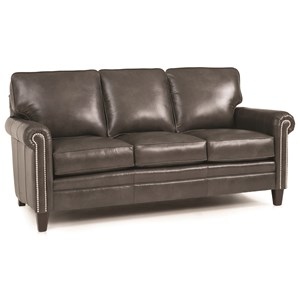 Traditional Mid-Size Sofa with Rolled Panel Arms and Nailhead Trim