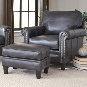 Traditional Chair and Ottoman with Tapered Legs