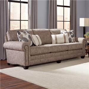 Traditional Sofa with Nailhead Trim and Rolled Arms