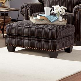 Traditional Stlye Chair Ottoman with Nailhead Trim