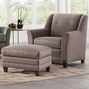 Casual Chair and Ottoman with Flared Arms