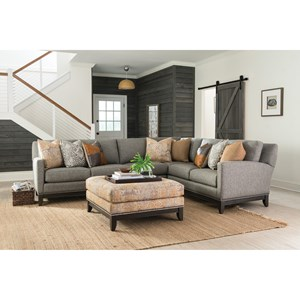 Transitional Sectional Sofa with Tapered Legs
