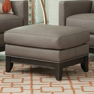 Transitional Ottoman with Tapered Legs