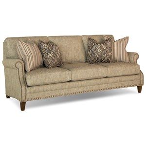 Traditional Sofa with Scooped Arms