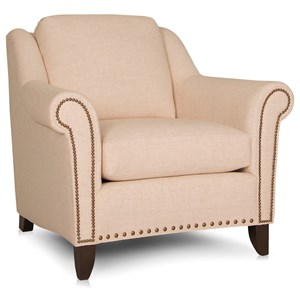 Transitional Stationary Chair with Nailhead Trim