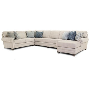 Traditional Sectional Chaise Sofa with Nailheads