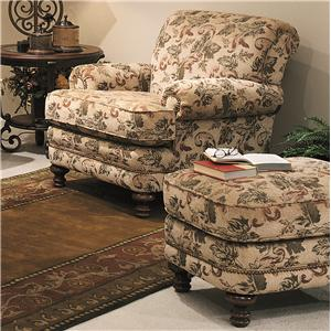 Traditional Styled Chair and Ottoman Set