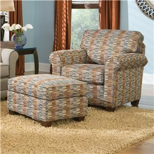Casual Chair and Ottoman with Tapered Wood Legs