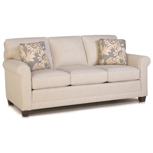 Casual Stationary Sofa with Rolled Arms