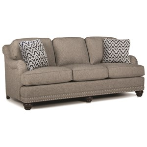 English Sofa with Rolled Back, English Arms, and Nail Head Trim