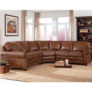 Traditional 3-piece Sectional Sofa with Nailhead Trim