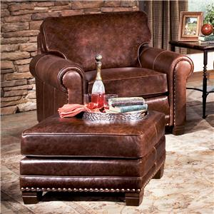 Traditional Chair and Ottoman with Nailhead Trim