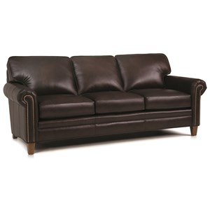Stationary Sofa with Rolled Arms and Nail Head Trim