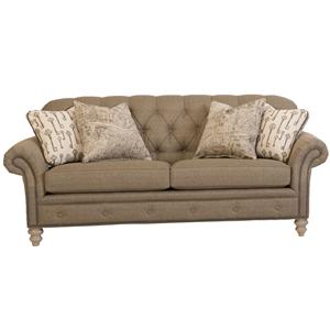 Traditional Button-Tufted Sofa with Nailhead Trim