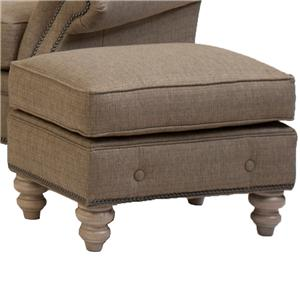 Traditional Ottoman with Buttom Trim and Turned Feet