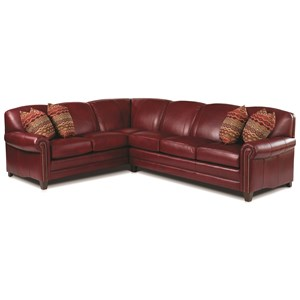 Stationary Sectional with Rolled Arms and Nail Head Trim