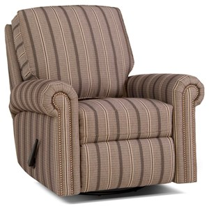 Traditional Swivel Glider Reclining Chair with Rolled Arms