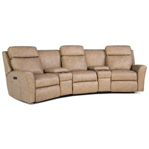 Casual Motorized Reclining Conversation Sofa with Console Storage