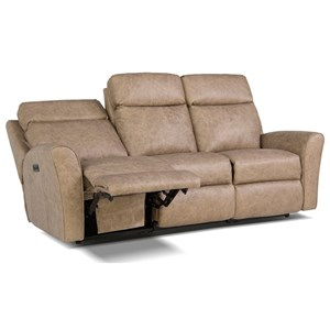 Motorized Reclining Sofa with Flared Arms