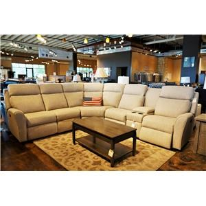 Casual Motorized Reclining Sectional Sofa with Flared Arms