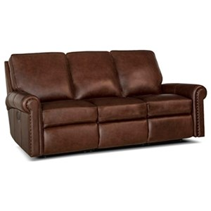 Traditional Power Reclining Sofa with Rolled Panel Arms