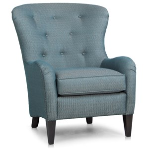 Wing Back Chair with Tufting and Wood Tapered Legs