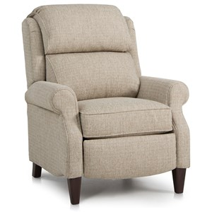 Traditional Pressback Reclining Chair with Rolled Arms