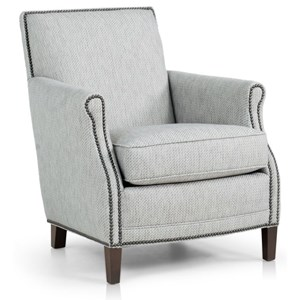 Casual Chair with Rolled Scooped Arms and Nailhead Trim
