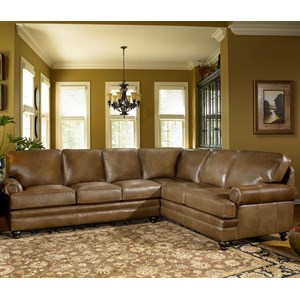 Traditional Sectional Sofa with Turned Feet