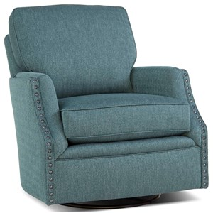 Casual Swivel Chair with Nailhead Trim
